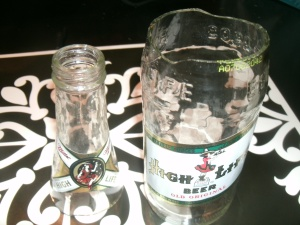 cutting glass bottle